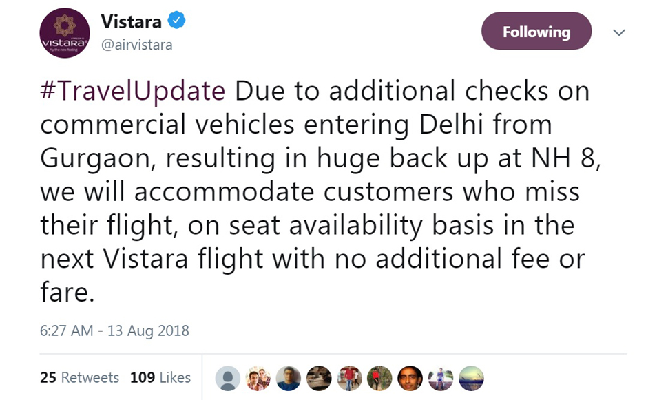 vistara airlines will accomodate customers who miss their flight