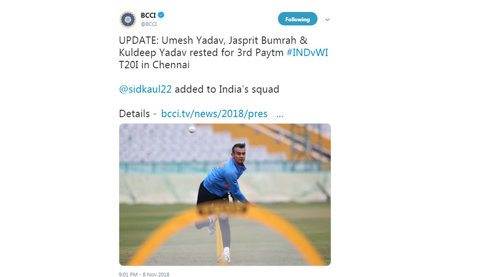 Team India declared for 3rd T20 vs WI