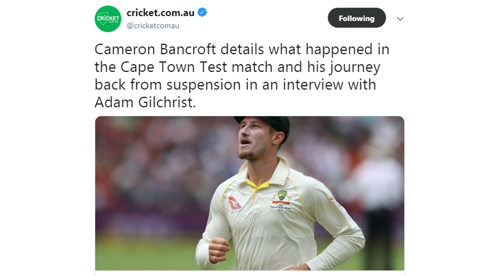 Cameron Bancroft Talks about what happened in Ball Tampering Scandal