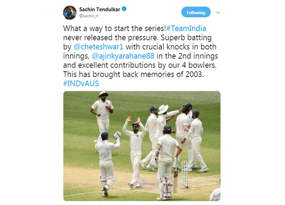 Sachin tweet on Indian win