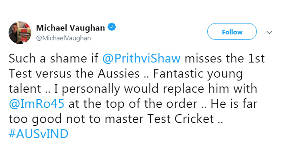 Michael Vaughan on Prithvi replacement
