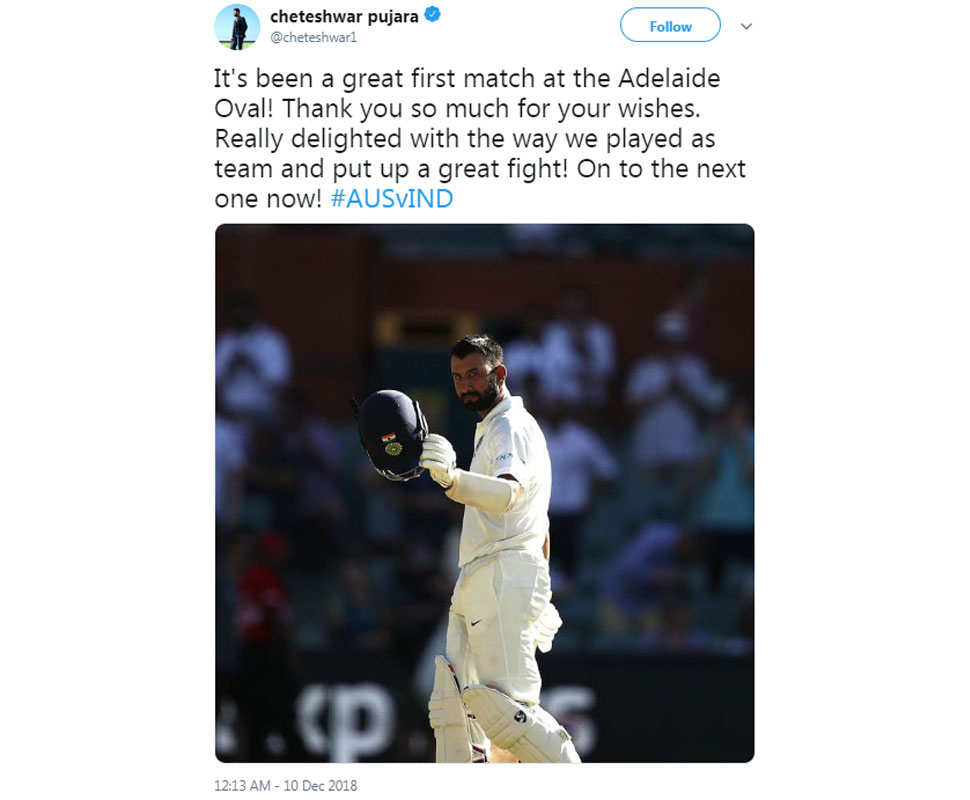 Pujara on Adelaide win of Team India