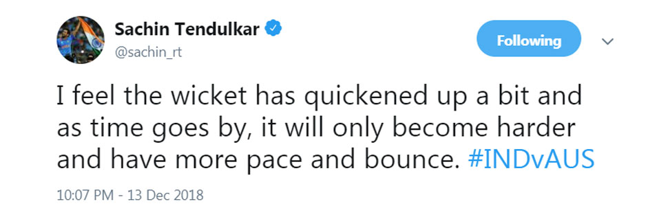 Sachin tendulkar on Perth Pitch