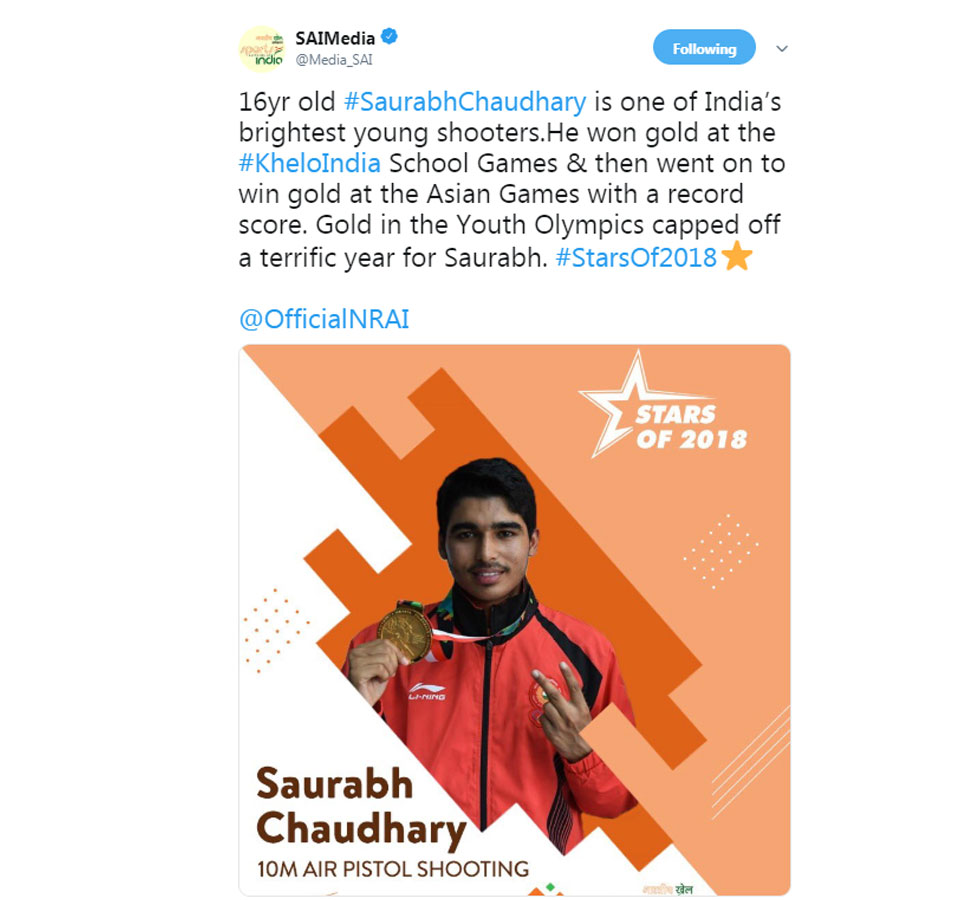 Saurabh Chaudhary  in 2018