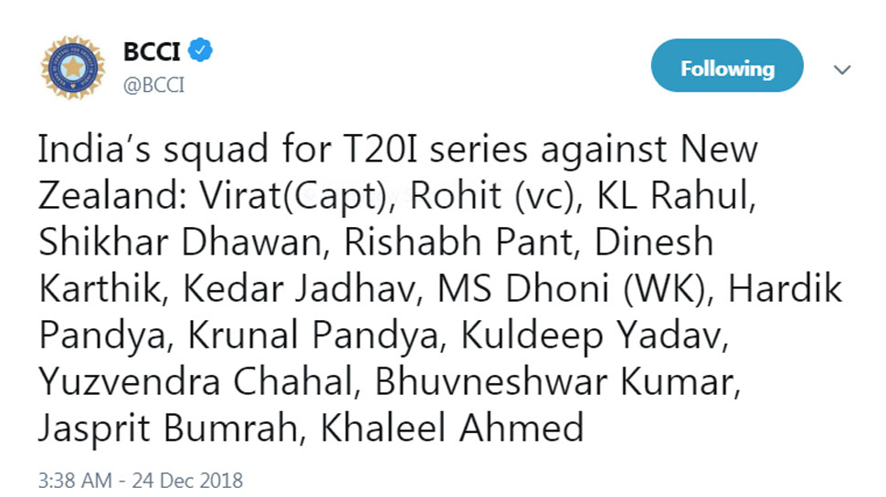 T20 Team India for NZ