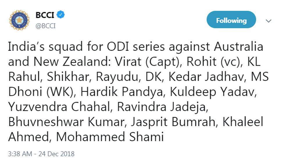 Team India for ODI Series vs Aus, NZ