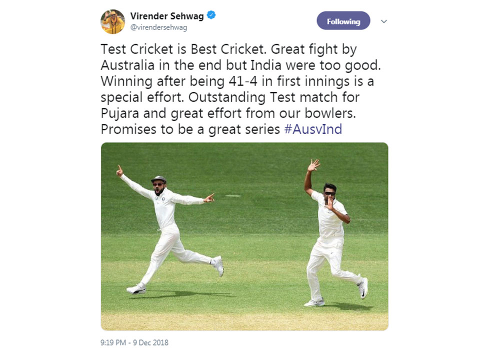 Virender Sehwag on indian win