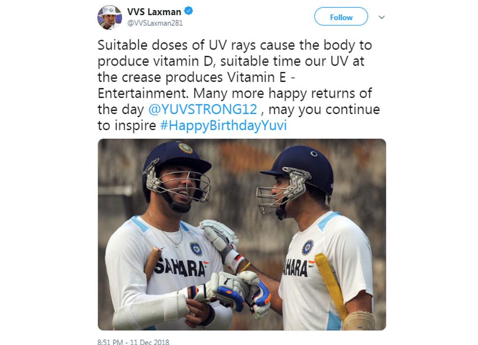 VVS Laxman on Yuvi b'day