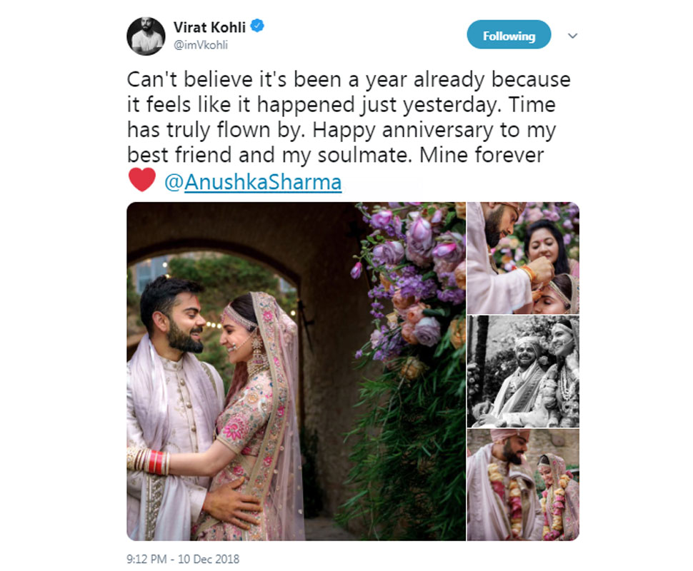Virat kohli on his wedding anniversary