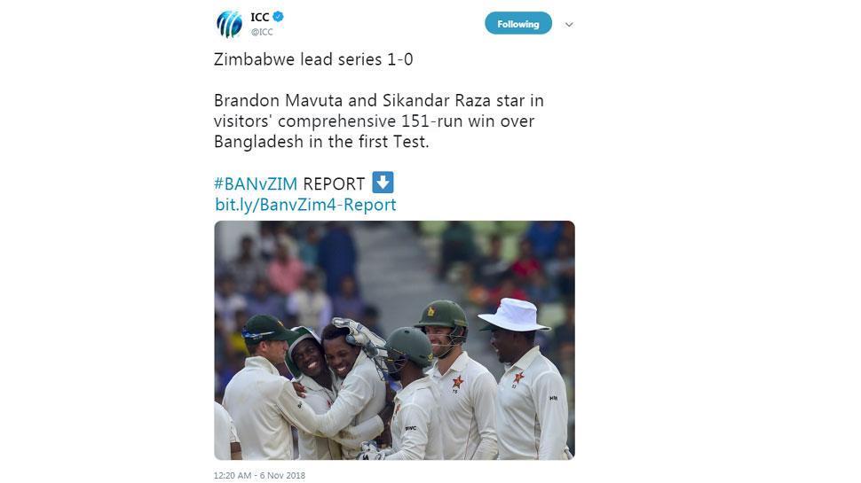 Zimbabwe wins vs Bangladesh