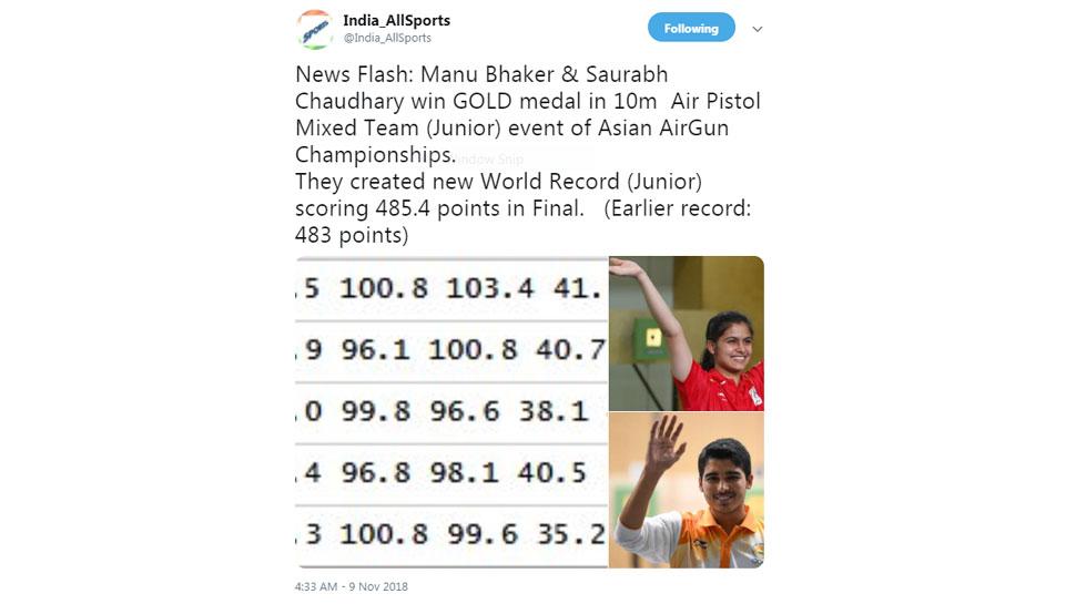 Manu bhaker and Saurabh