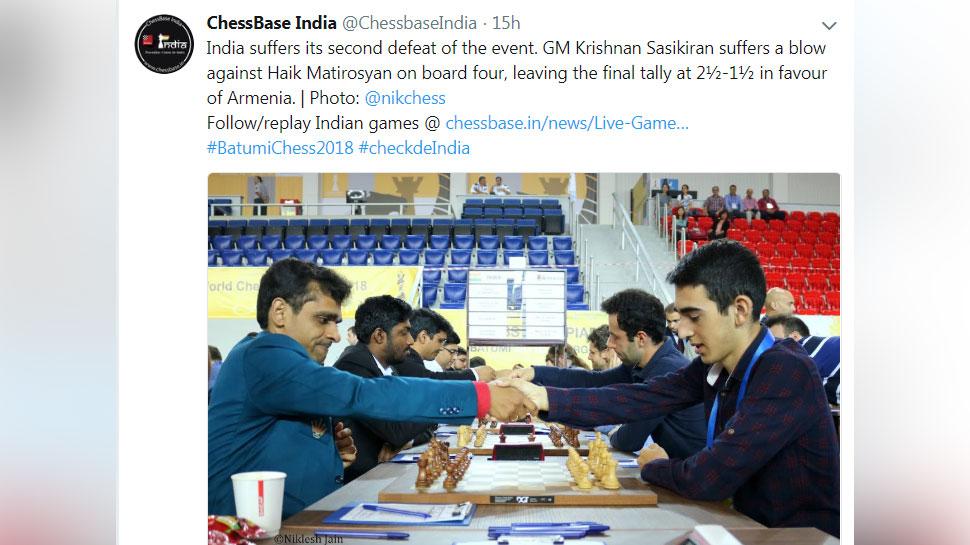 chess Indian Men looses to Armenia