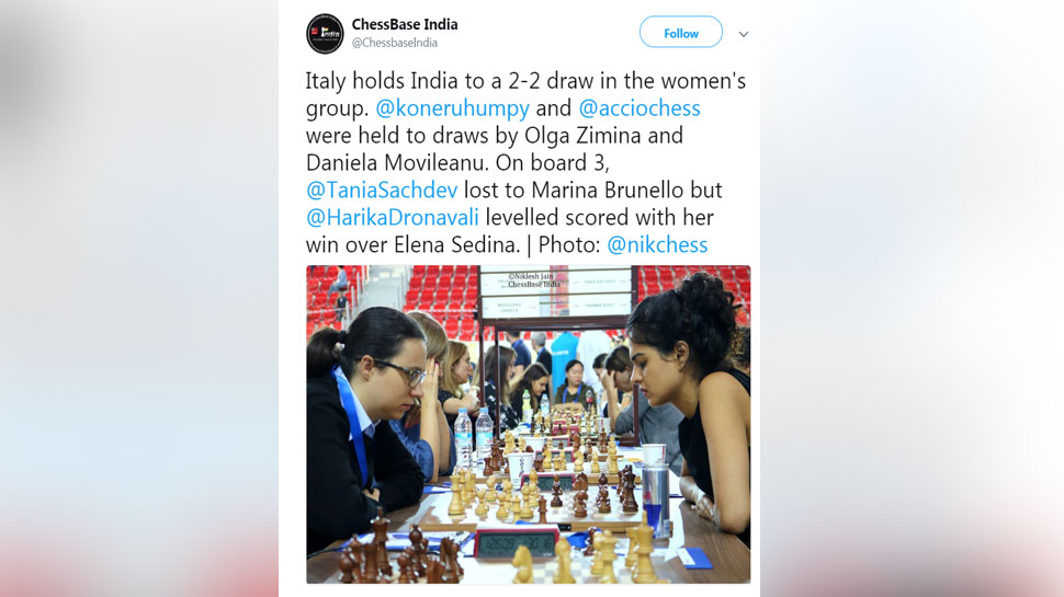 chess Indian Women play draw with Italy
