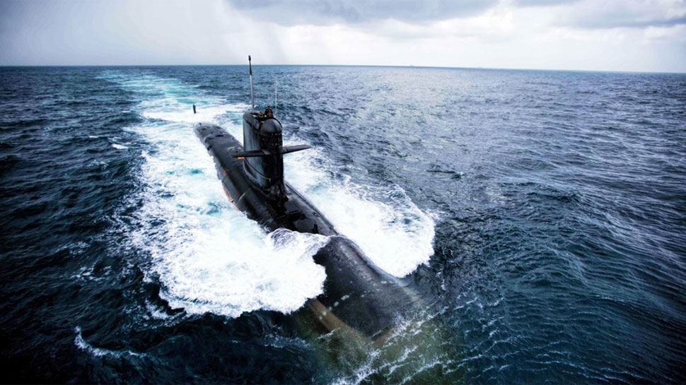 The third indigenous - built Scorpene - class submarine Karanj launched in Mumbai. (File Photo: IANS)
