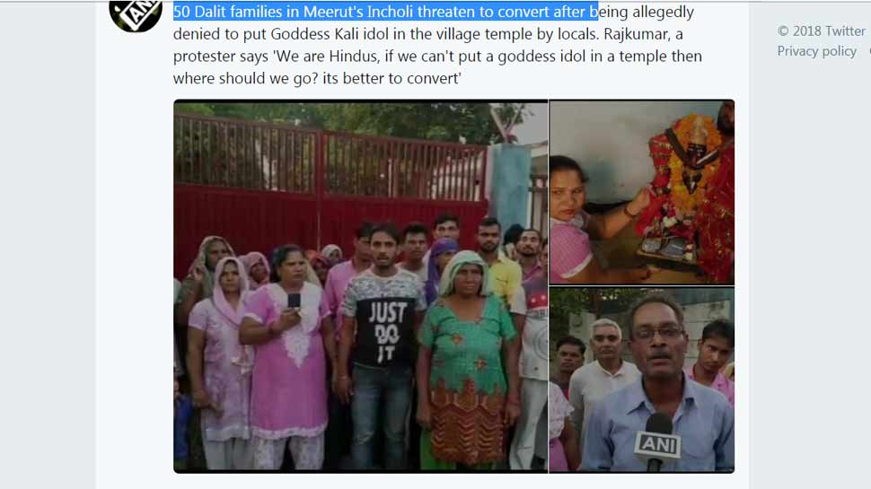Dalit families in Meerut threaten to convert due to not put Goddess Kali idol in the village temple by locals