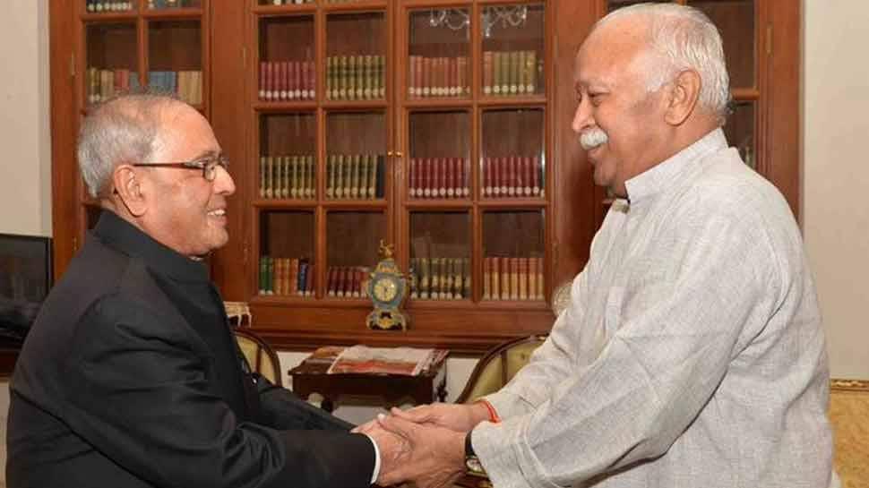 mohan bhagwat and Pranab Mukherjee