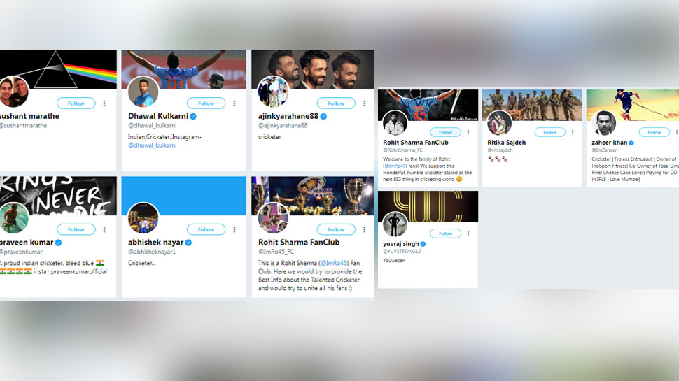 Rohit sharma follows these people 3