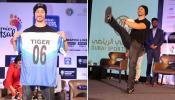 The `Mumbai Warriors` co-owner Tiger Shroff appears for a press conference