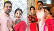 WEDDING PHOTOS: लाल रंग से सजी सागरिका तो प्यार में गुलाबी हुए जहीर खान