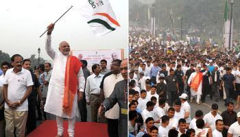 PM ने दिखाई `रन फॉर यूनिटी को हरी झंडी, खुद भी दौड़ में शामिल हुए मोदी