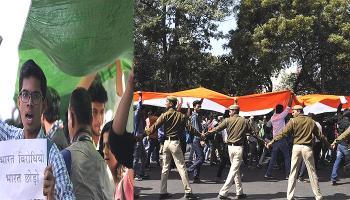 रामजस कॉलेज में हिंसा: एबीवीपी ने निकाला `तिरंगा मार्च`, जेएनयू-डीयू में विभिन्न संगठनों की आज मार्च करने की योजना