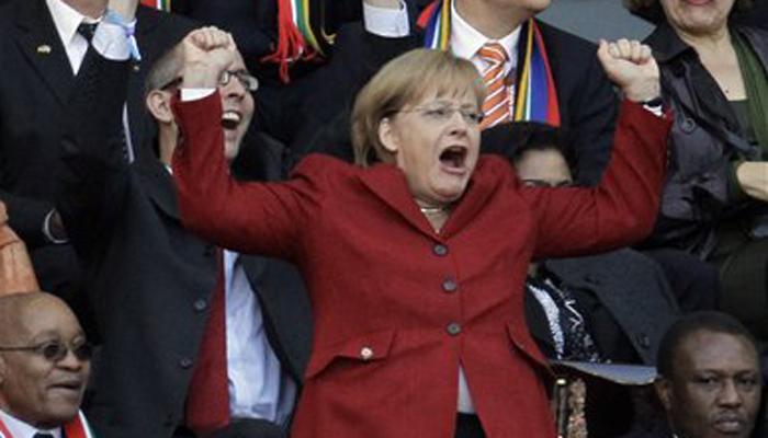 एंजेला मार्केल को यकीन, जर्मनी जीतेगा फुटबॉल विश्व कप