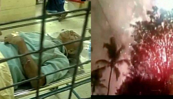 केरल के पुत्तिंगल मंदिर में अातिशबाजी के दौरान हुए विस्फोट का वीडियो