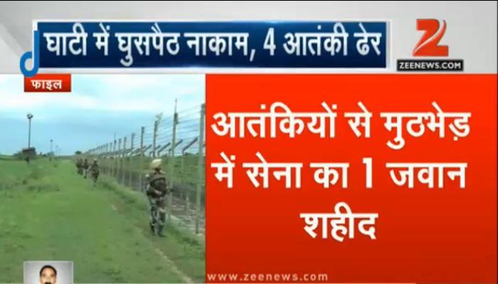 जम्मू-कश्मीर: सेना ने घुसपैठ की कोशिश नाकाम की; 4 आतंकी मारे गए, एक जवान शहीद