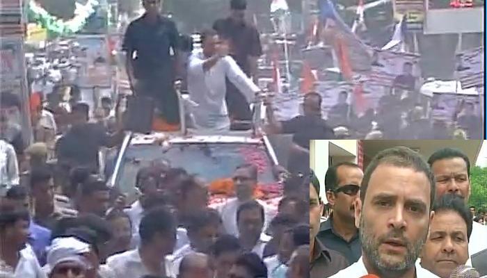राहुल ने गोरखपुर में किया रोड शो, किसानों की समस्याओं पर केंद्र को घेरा