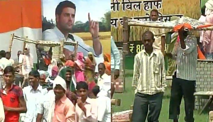यूपी: मिर्जापुर में राहुल गांधी की सभा खत्म होते ही फिर हुई खाट की लूट