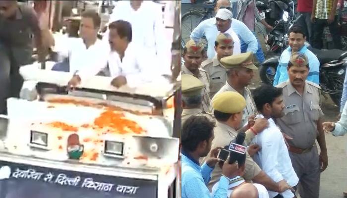 यूपी: सीतापुर में रोड शो के दौरान राहुल गांधी पर फेंका जूता, युवक हिरासत में