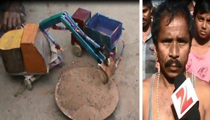अनपढ़ ग्रामीण ने बनाई अपनी पोकलेन मशीन, ना बिजली ना डीज़ल की ज़रूरत