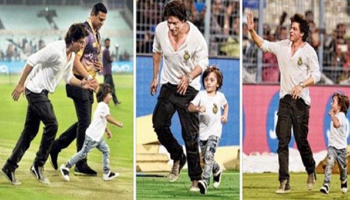 VIDEO : अबराम के साथ शाहरुख ने मैदान पर लगाई दौड़, मैच के बाद भी स्टेडियम में जमे रहे दर्शक