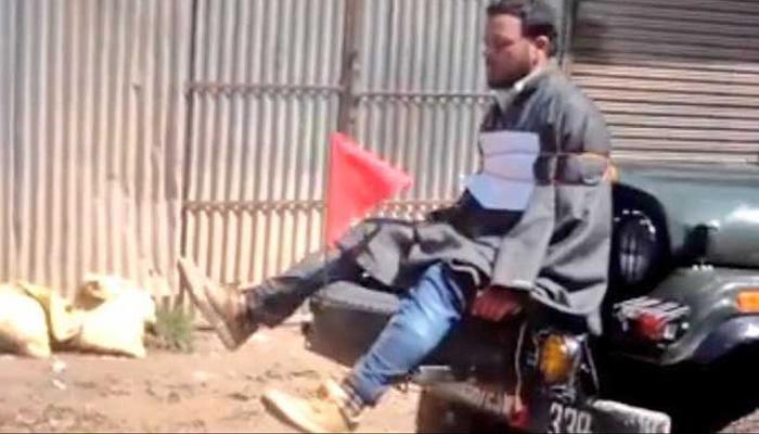 कश्मीर : युवक को जीप से बांधने वाले आर्मी अफसर को मिली क्लीन चिट