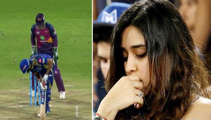 PICS : रोहित शर्मा के आउट होते ही मुरझा गया उनकी पत्नी का मुस्कुराता चेहरा