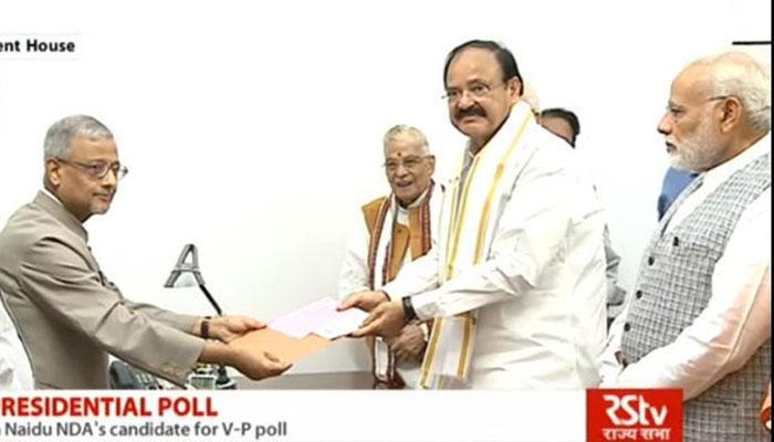 उपराष्ट्रपति चुनावः पीएम मोदी की मौजूदगी में वेंकैया नायडू ने भरा पर्चा, कहा- अब किसी पार्टी से नहीं जुड़े हैं