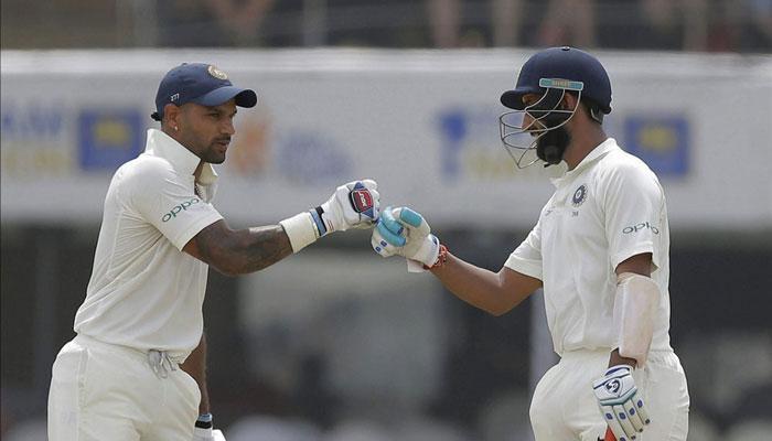 गॉल टेस्ट: धवन और पुजारा की धमक से भारत ने ठोंके तीन विकेट पर 399