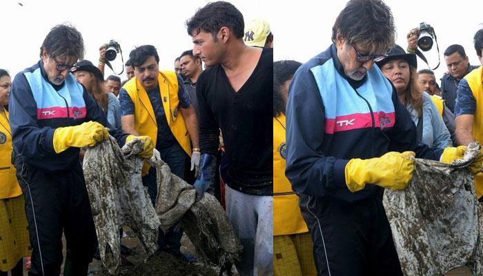PICS: वर्सोवा बीच पर अमिताभ बच्चन ने की सफाई, लोगों को दिया मैसेज