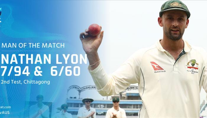 AUS vs BAN: चटगांव टेस्ट में लॉयन की धारदार गेंदबाजी, ऑस्ट्रेलिया ने बांग्लादेश को दी मात