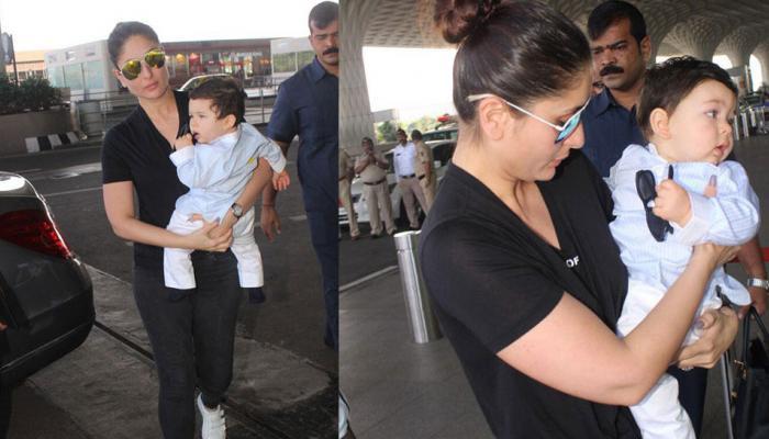 मॉम करीना के साथ एयरपोर्ट पर स्पॉट हुए नन्हें तैमूर, देखें तस्वीर