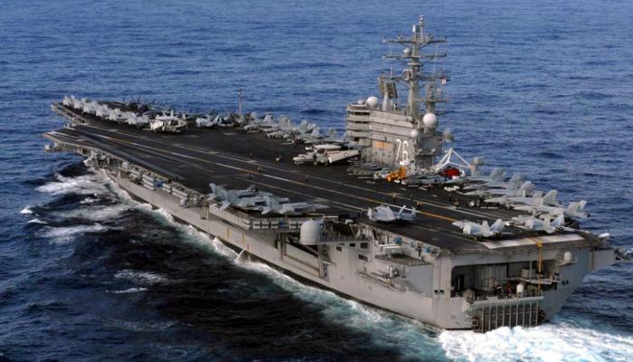 PICS: उत्तर कोरिया के खिलाफ समुद्र में उतरे अमेरिका के तीन शक्तिशाली विमानवाहक पोत