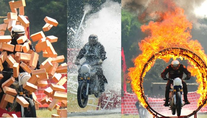 Army men stunt perform during 257th Corps Day celebrations of Army Service Corps ASC at Agram Grounds in Bengaluru