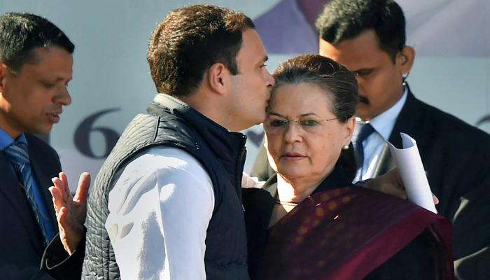 congress president Rahul gandhi kisses mother sonia gandhi forehead after her speech