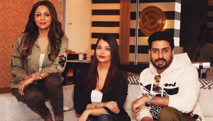 Aishwarya Rai Bachchan ith Abhishek Bachchan at Gauri Khan Studio