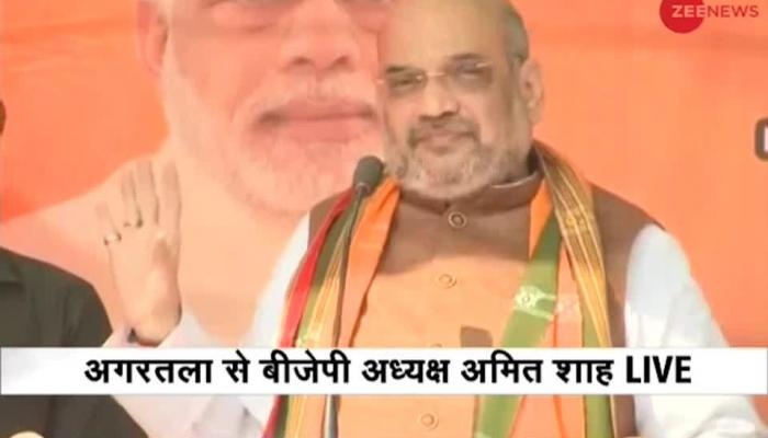 Watch: BJP President Amit Shah addresses rally in Agartala