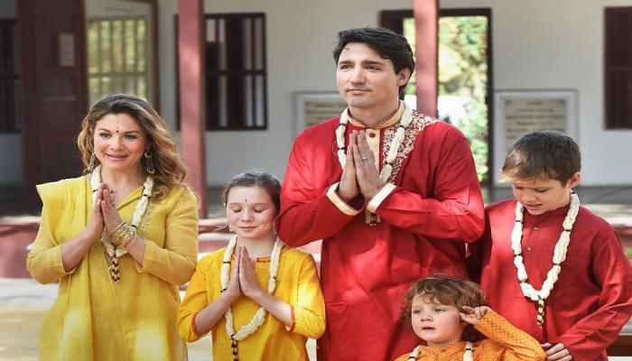 Canadian prime minister Justin Trudeau visit sabarmati ashram in indian dress with wife