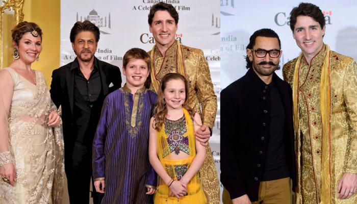 Canadian Prime Minister Justin Trudeau meets Shah rukh Khan and Aamir Khan