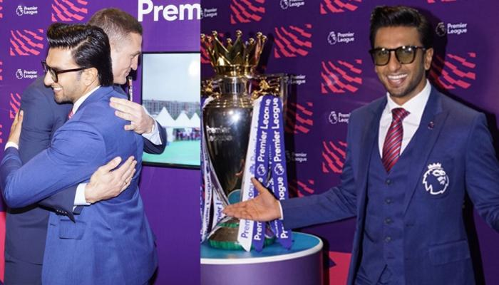 ranveer singh looks dapper as he attend the premier league conference in mumbai