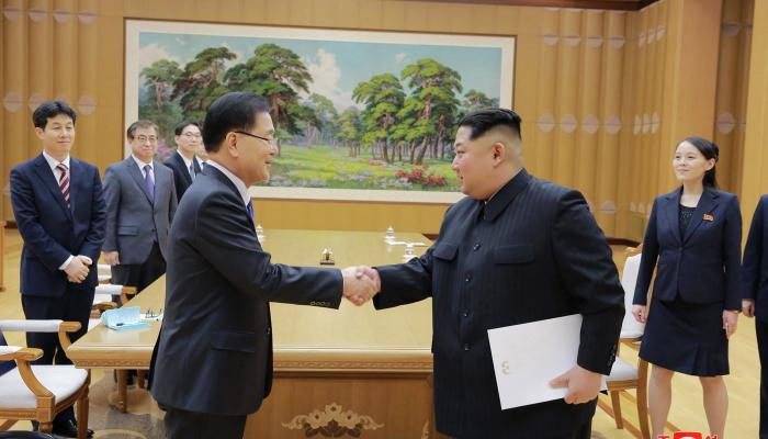 North Korean leader Kim Jong Un meeting special delegation of South Korea's President