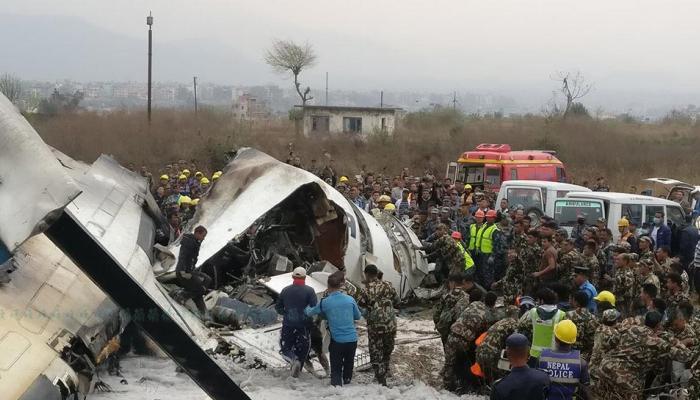 Photos of Bangladesh passenger Plane crash at Kathmandu airport